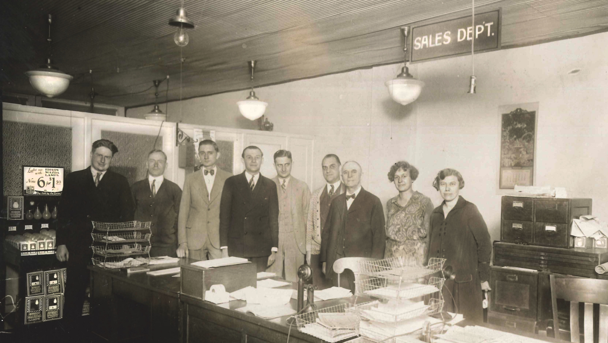 A photo of the early days of Crescent Electric's Sales Department.