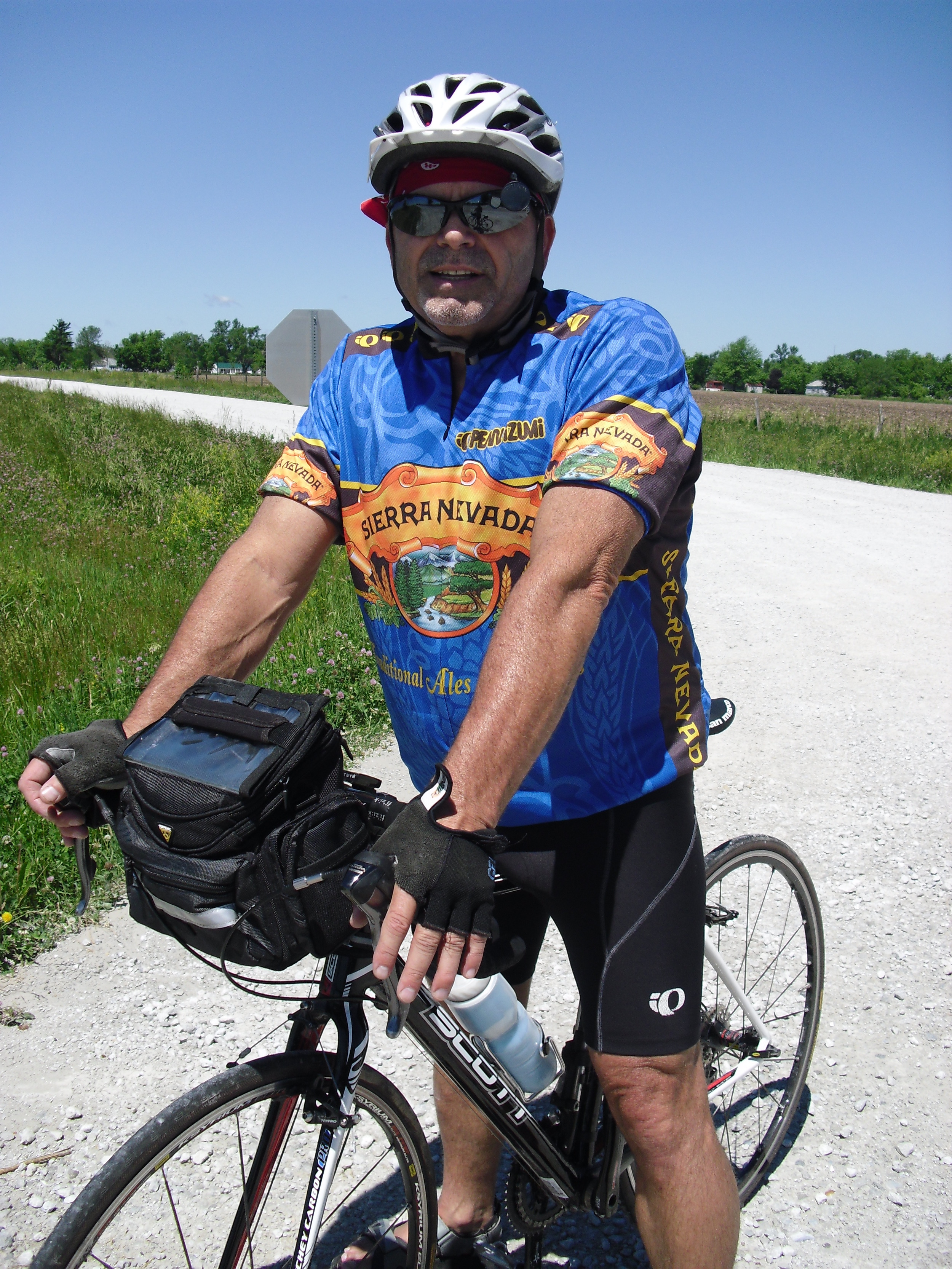 Steve Snook, on the road with his carbon fiber bike.
