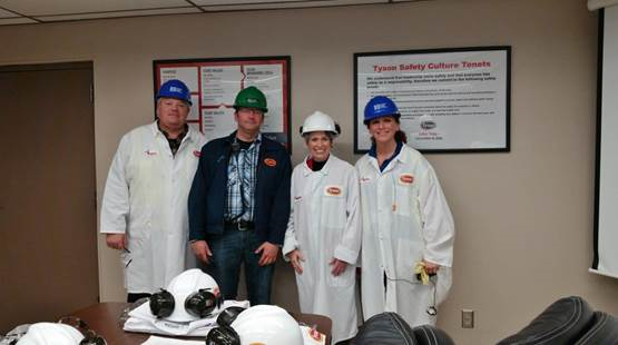 Pictured left to right: John Gordon, Crescent Iowa Industrial Partner—first stepped into the Tyson plant five years ago; Matt Elder, Waterloo Fresh Meats Facility Engineer; Joni Ernst, Senator IA REP; Ramah Husidic, Tyson Waterloo Account Manager.
