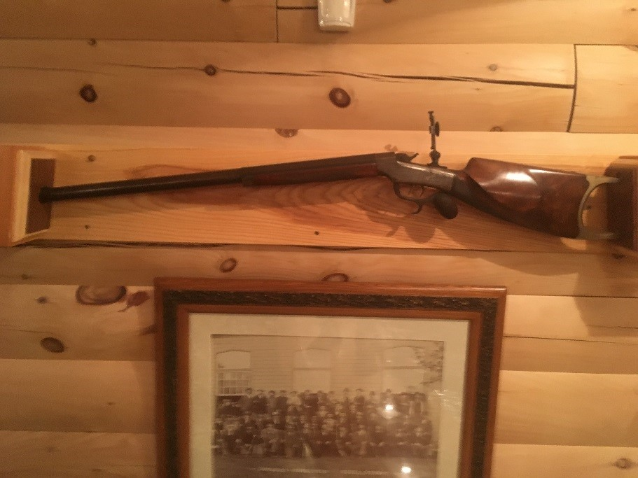 This is the gun held by Titus in the picture, and has been passed down by the family. It was recently gifted to the Dubuque Shooting Park (formerly known as Dubuque Schuetzen Gesellschaft). This gun is now on display at the Dubuque Shooting Park.