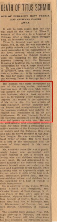 Obituary of Titus Schmid, uncle of the founder of Crescent Electric.