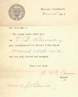 Formal Notice of withdrawal from Harvard University, signed by Mr. A.J. Schmid, father of Titus.