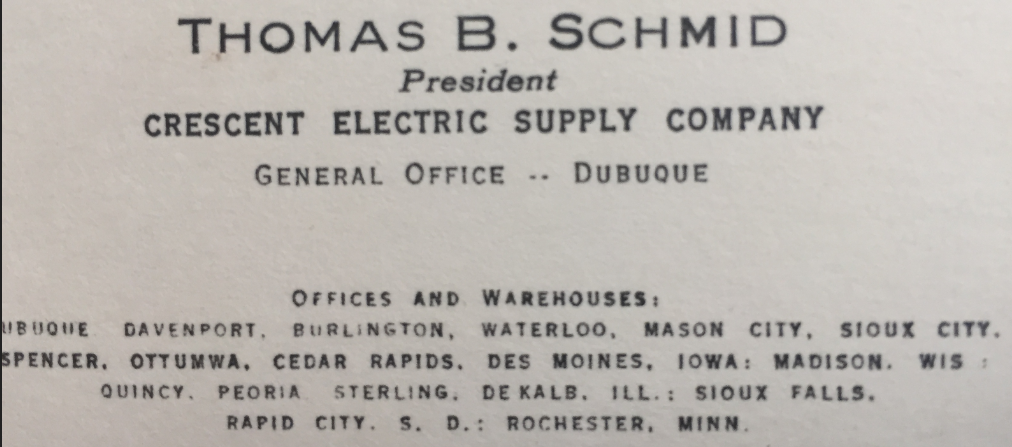 Tom Schmid's new business card with the title of President in 1966.