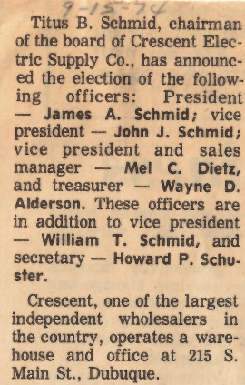 1974 Board Meeting officer announcement.