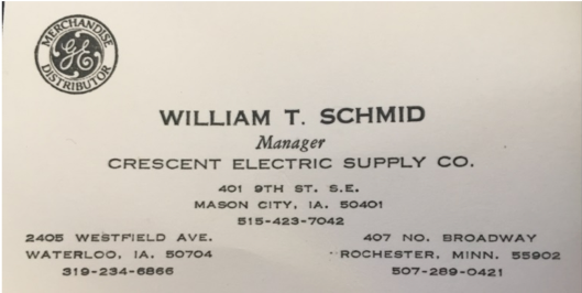 Bill's business card from the 1960's: