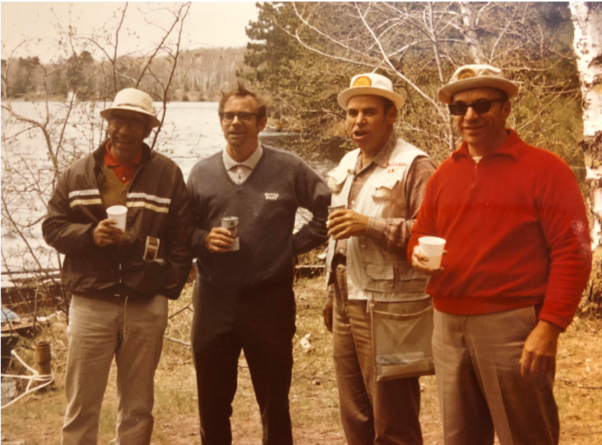 John, Bill, Tom and Jim on a fishing trip together in the late 60's. The family that plays together stays together!
