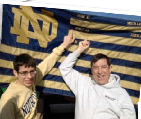 This is a picture of Jack Schmid (son of John) and his son John (grandson of John Sr.) tailgating at a Notre Dame football game in 2015.