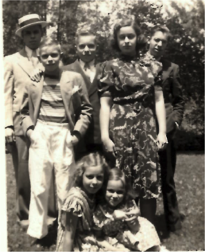 This 1934 photo shows all seven of the Schmid children.