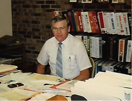 Don Schlader hard at work in his East Dubuque office.