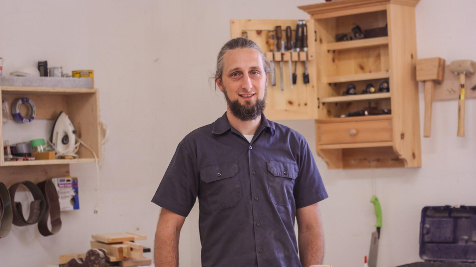 Jeremy Burrill, cabinet maker turned casket maker