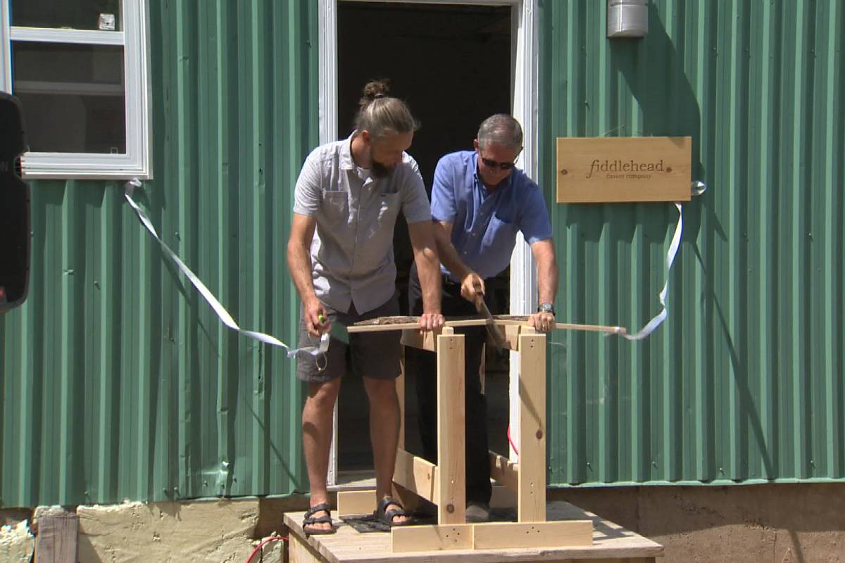 Fredericton Mayor Mike O'Brien saws wood in an unconventional ribbon cutting ceremony.