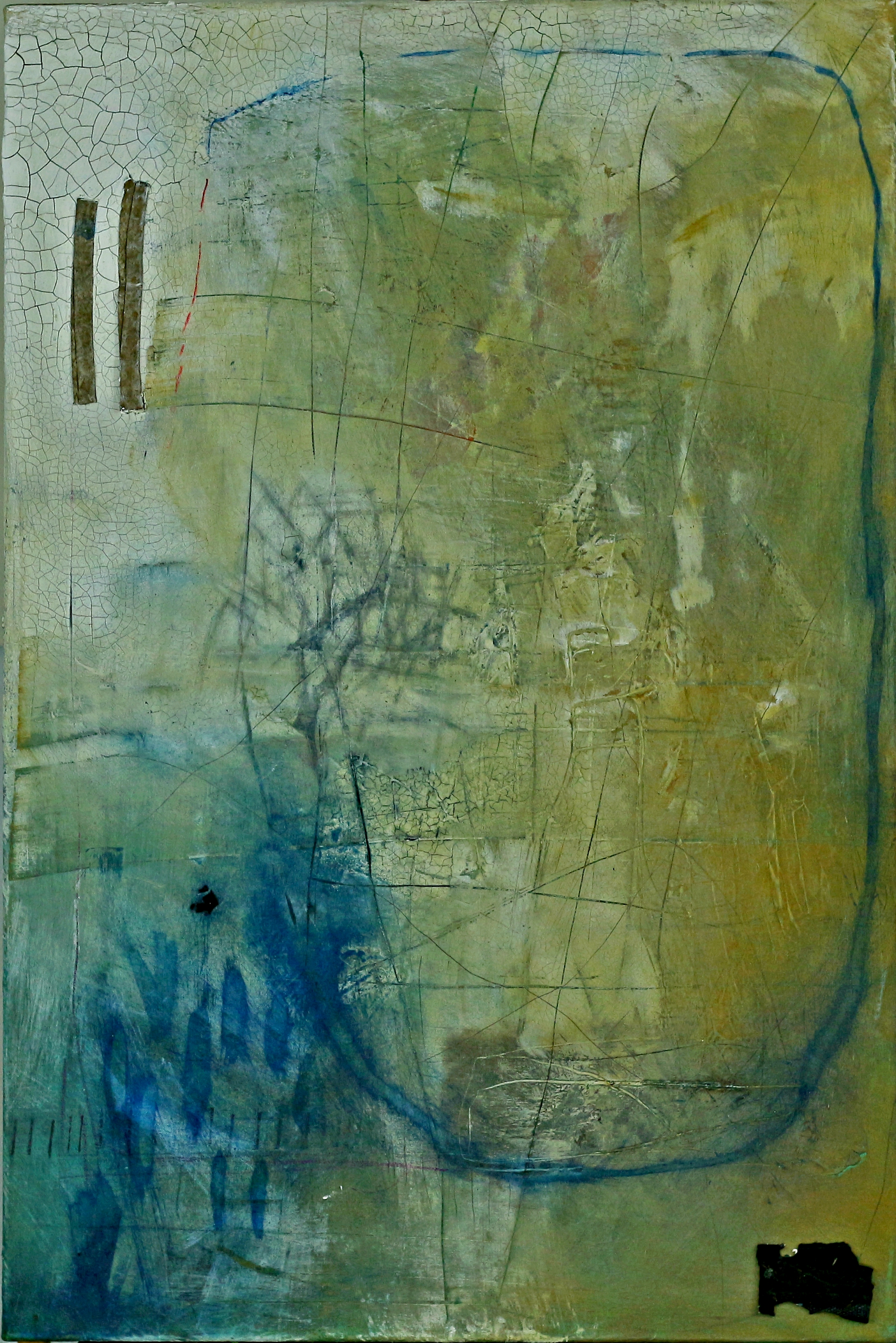 """Blue Cavern"", 24"" x 48"", mixed media on canvas."