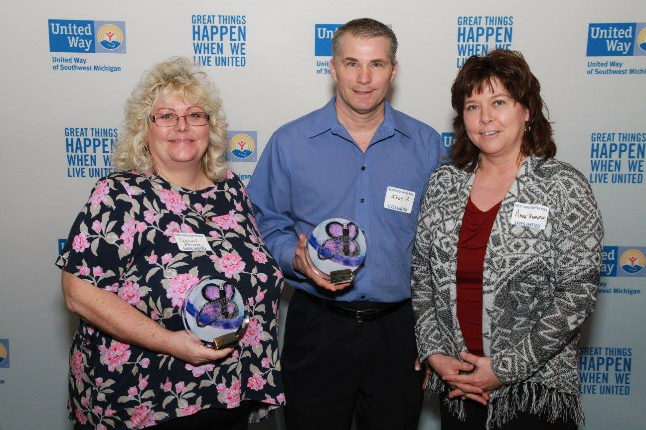 L to R: Dawn Payne, Ivan Price, and Anna Thompson at the 2015 United Way of Southwest Michigan Annual Celebration.  Ivan Price was awarded ECC of the Year for a Medium Business while Martin's Supermarket of St. Joseph received the Trendsetter Award.
