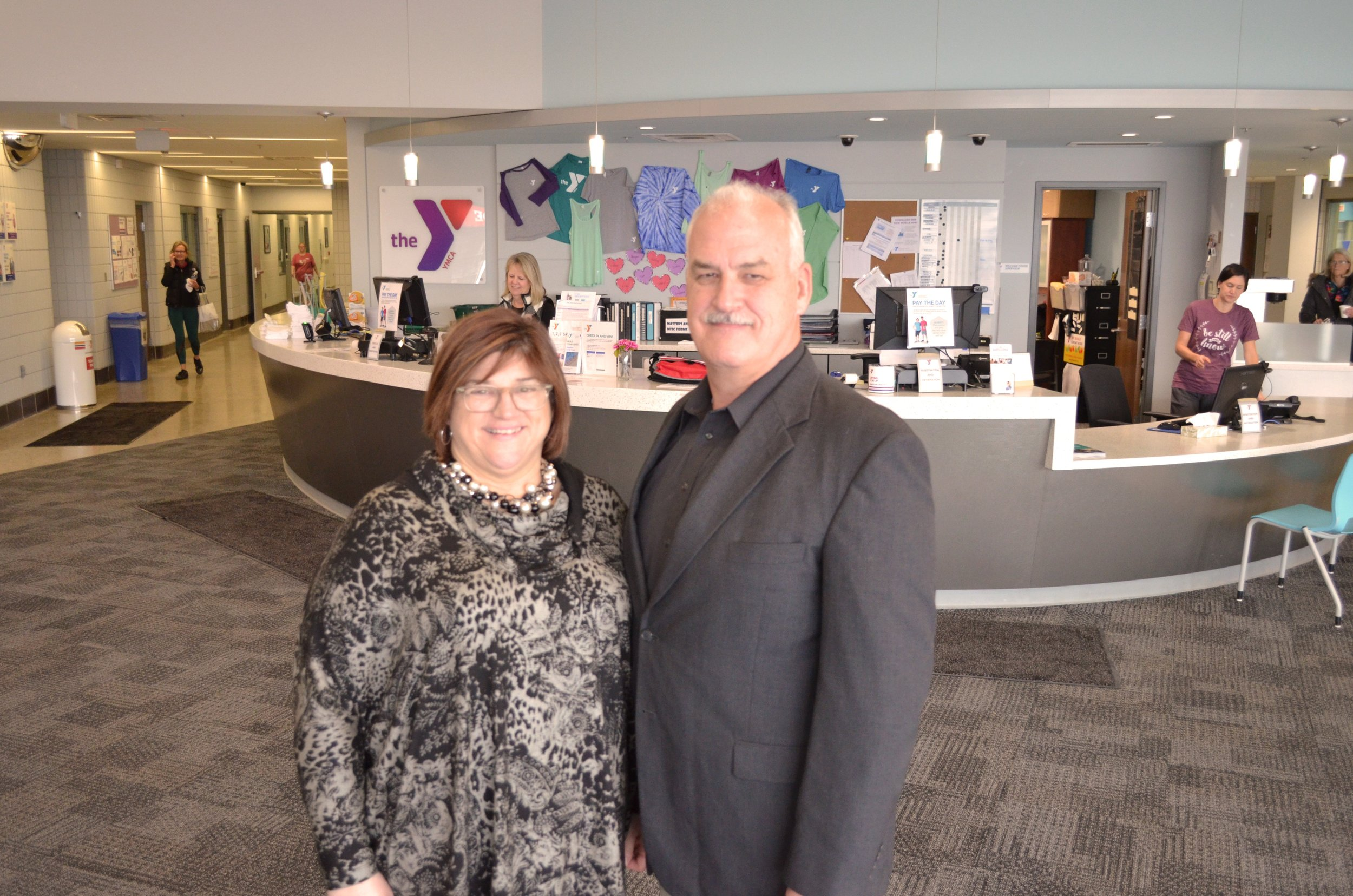 United Way of Southwest Michigan President, Anna Murphy, with YMCA of Southwest Michigan President, Mark Weber.