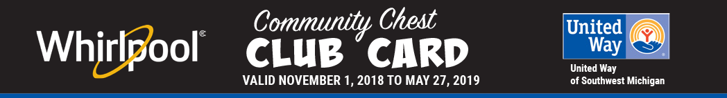 The Community Chest Club Card from Whirlpool Corporation gets you the following discounts at participating wineries and breweries between November 1, 2018 and May 27, 2019. Proceeds from the sale of Club Cards benefit United Way of Southwest Michigan.
