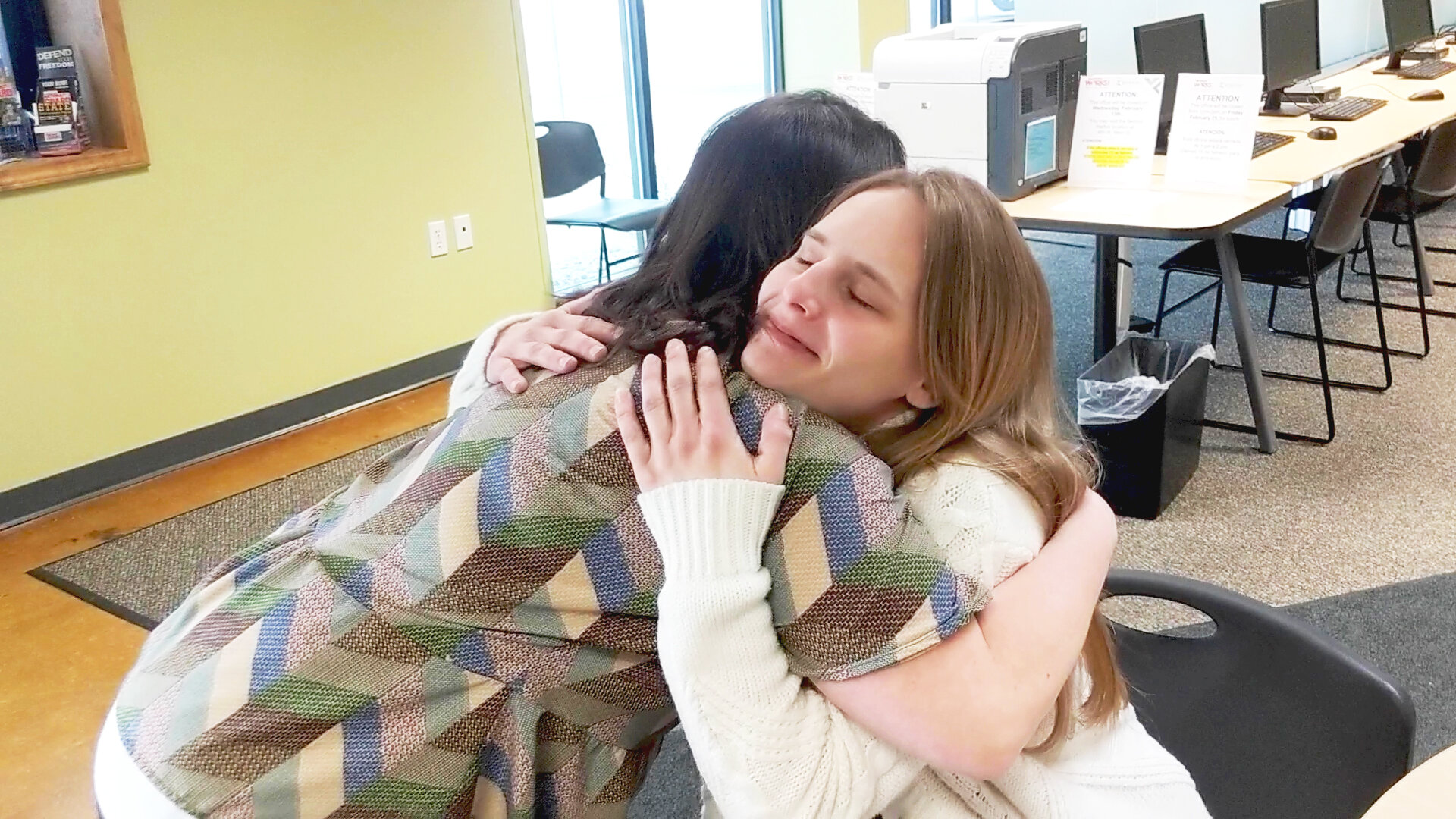 """Angelica Hatchew, a beneficiary of Kinexus - The LINK, with her success coach Nancy Miller. """"She was my backbone,"""" Angelica says.   Listen to Angelica tell her own story."""