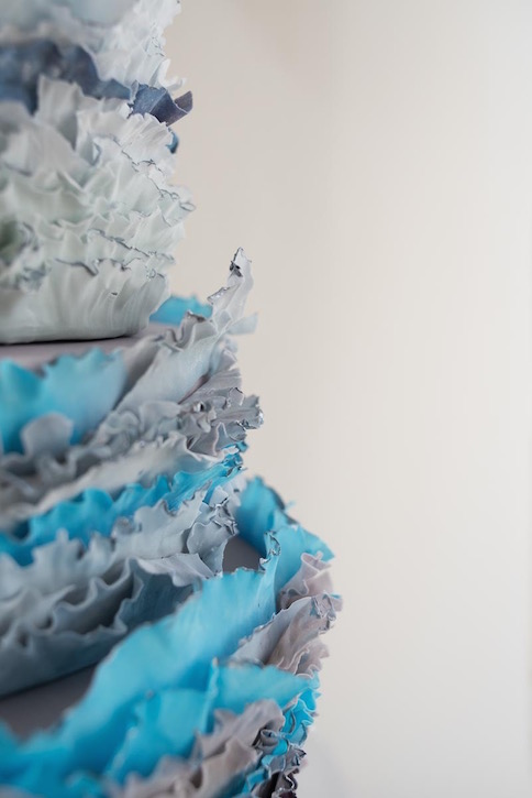 Ombré ruffles, turquoise & peony wedding cake