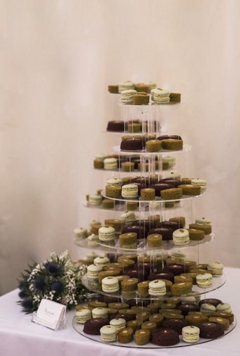 Chocolate financiers, matcha teacakes, pistachio macarons