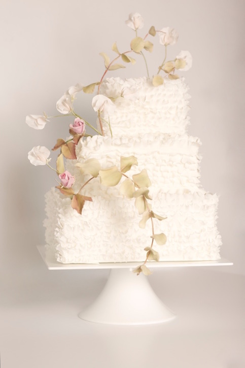 Rose and ruffle wedding cake, image by PJ Phillips Photography