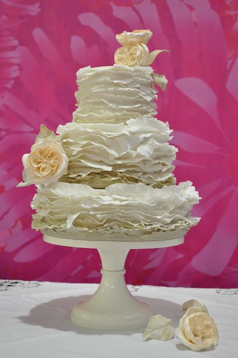 """""""Torn paper"""" sage ombré & garden rose wedding cake"""