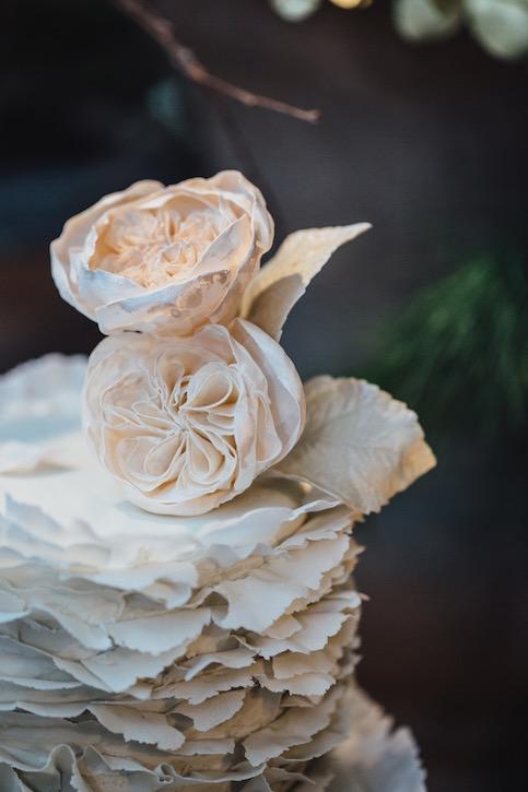 """Torn paper"" ruffles wedding cake"