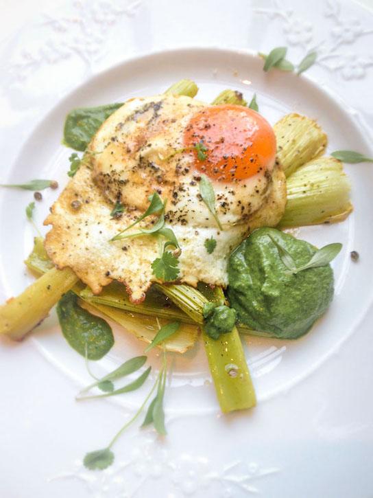 "Roasted celery • Crispy fried egg • Coriander, almond and coconut kefir ""pesto"" • Coriander micro herbs"