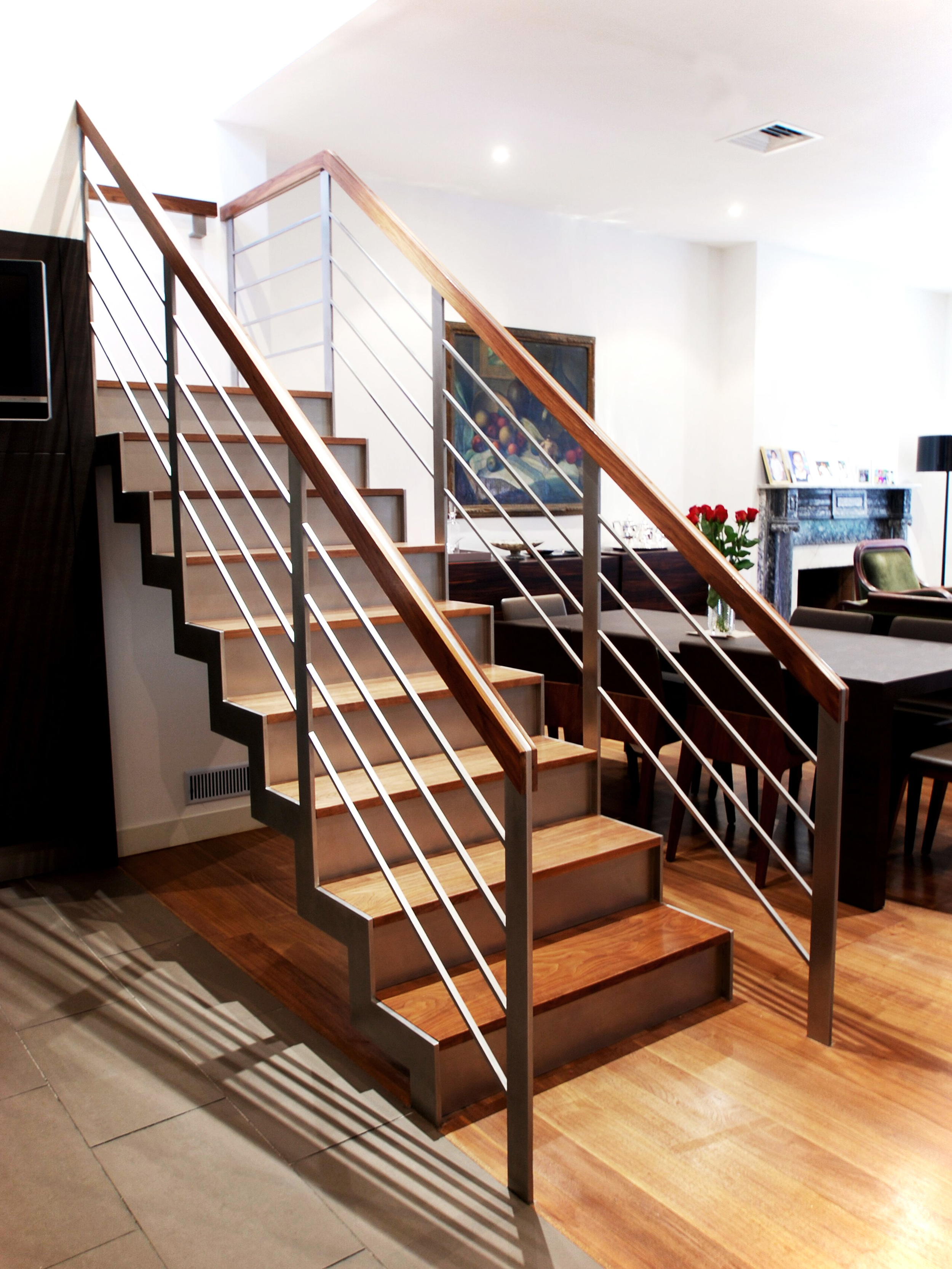 Walnut & Stainless Steel Staircase
