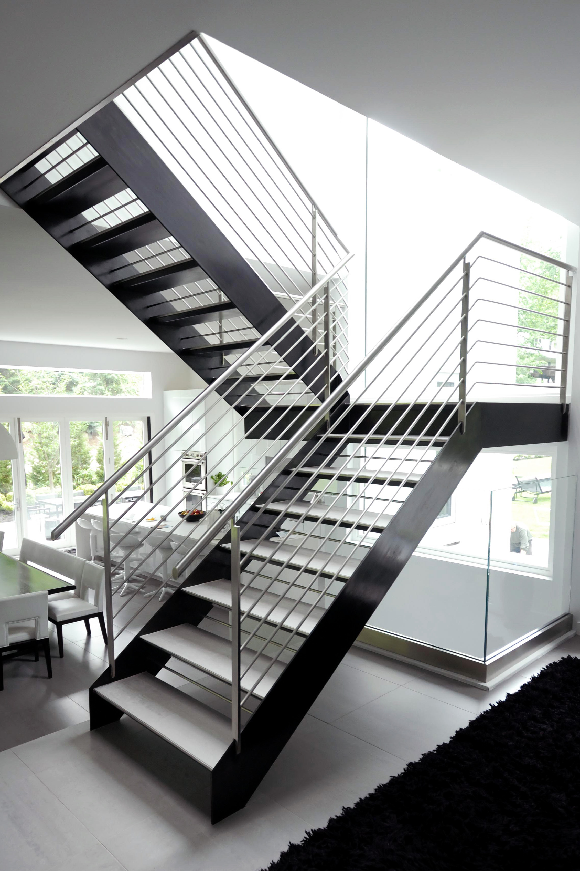 Blackened  & Stainless Steel Staircase