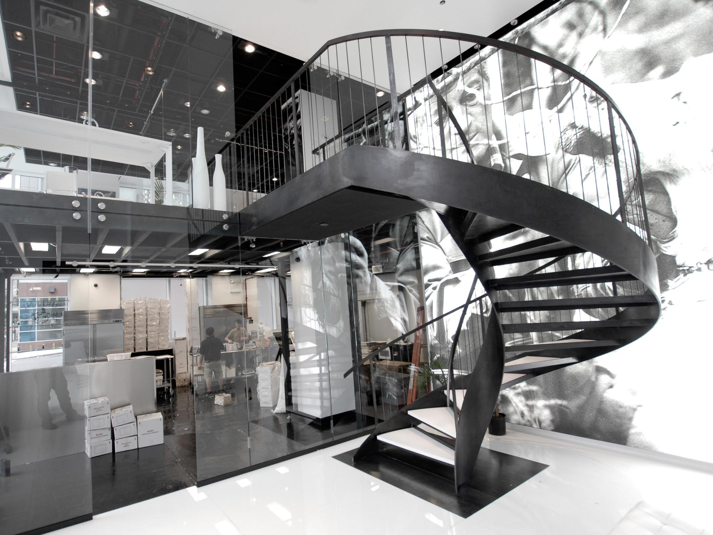 Blackened Steel Helix Staircase