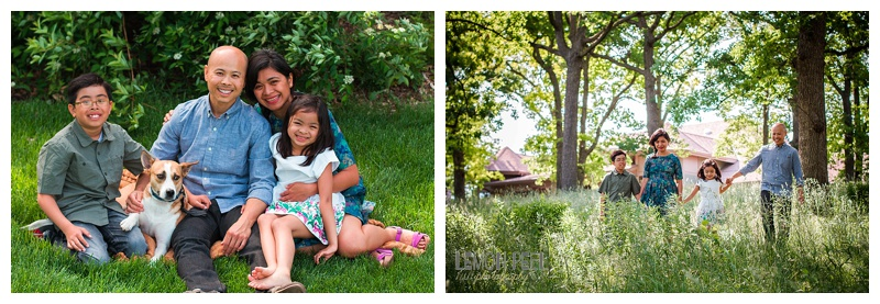 An example of a traditional pose (left) and a candid more scenic family portrait (right).