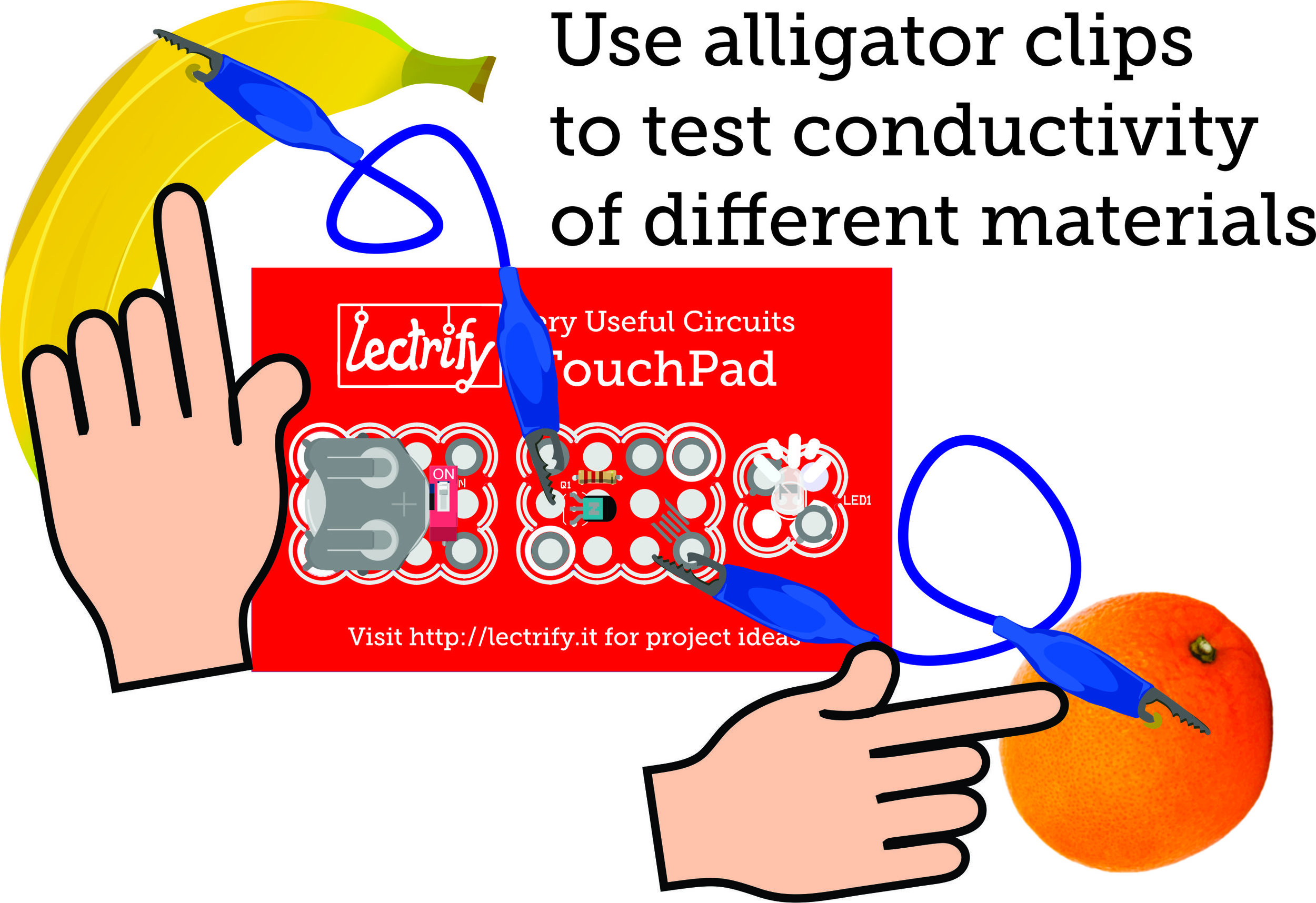 Touchpad alligator clips