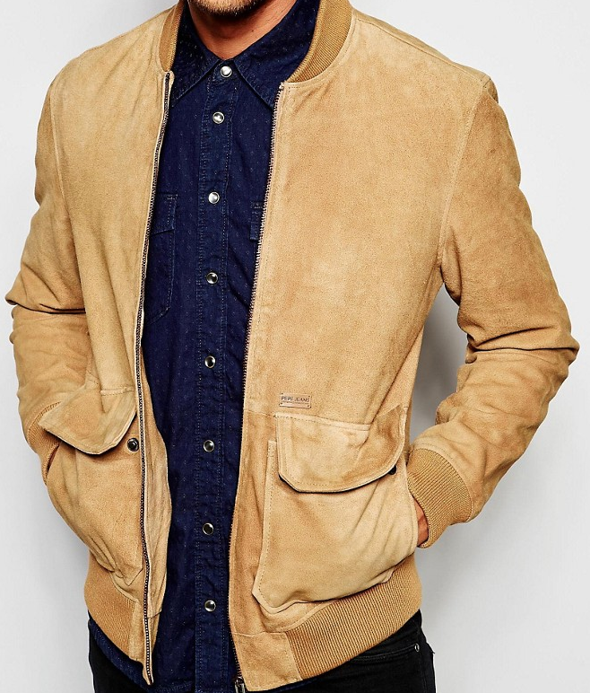 Pepe Jeans Sydow Brown Suede Bomber Jacket