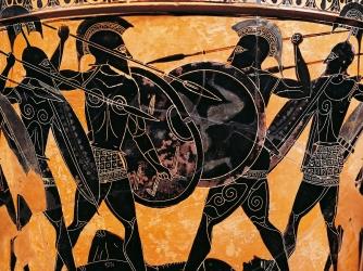 Spartan Warriors on Greek pottery