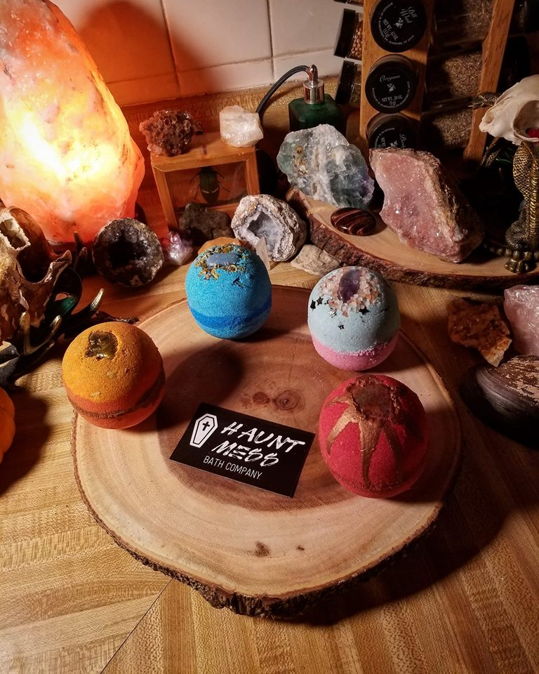 Bath bombs and image from Haunt Mess Bath Company