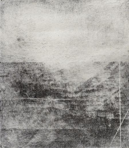 "Lake Hofoavatn #2, 2014 photopolymer intaglio plate size: 5 ½"" x 5"""