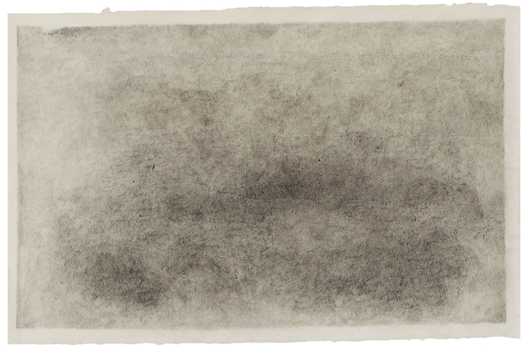 "Breath Drawing #2,  2013 pencil on paper 25"" x 39"""
