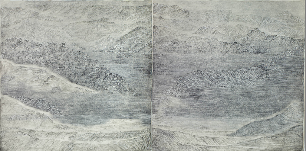 """Sea State Diptych, 2011 pencil, pastel, charcoal on paper 79"""" x 158"""""""