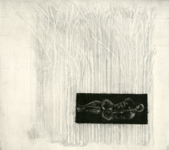 "Man Before Woods Etching,  2010 etching plate size:  18"" x 20"""