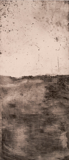 "Landscape,  2008 etching plate size:  20"" x 9"""