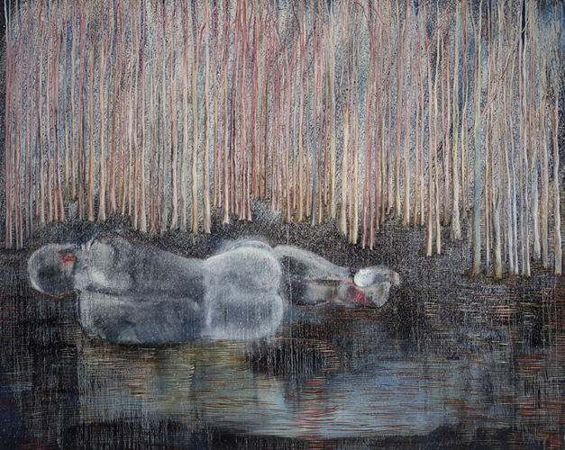"""Man Before Woods 2, 2008 oil on canvas 72"""" x 90"""""""