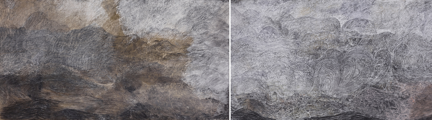 """Sea at Vik Diptych, 2013 stains, charcoal, pastel, and pencil on paper 38"""" x 144"""" overall"""