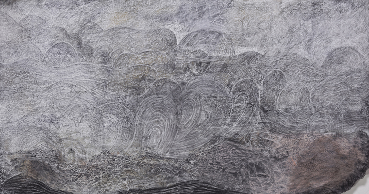 """Sea at Vik (right panel), 2013 stains, charcoal, pastel, and pencil on paper 38"""" x 72"""""""