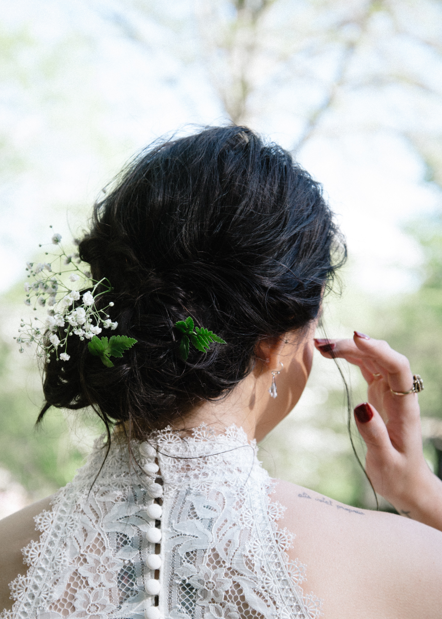 the details - +baby's breath, a few fern fronds for a botanical bridal hairstyle+custom converse wedding shoes+mom's pearls+flannel for chilly days