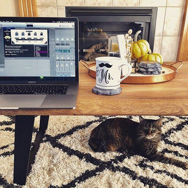 Time to write some new material. . . . . . . . . . #yegmusic #yegband #macbookpro #logicprox #apogee #coffee #edmontonmusicscene #newmusic #yegshows #catsofinstagram #instagramyeg #albertamusic #albertamusicscene #yeg #edmonton #yegnews #albertalife #bandlife