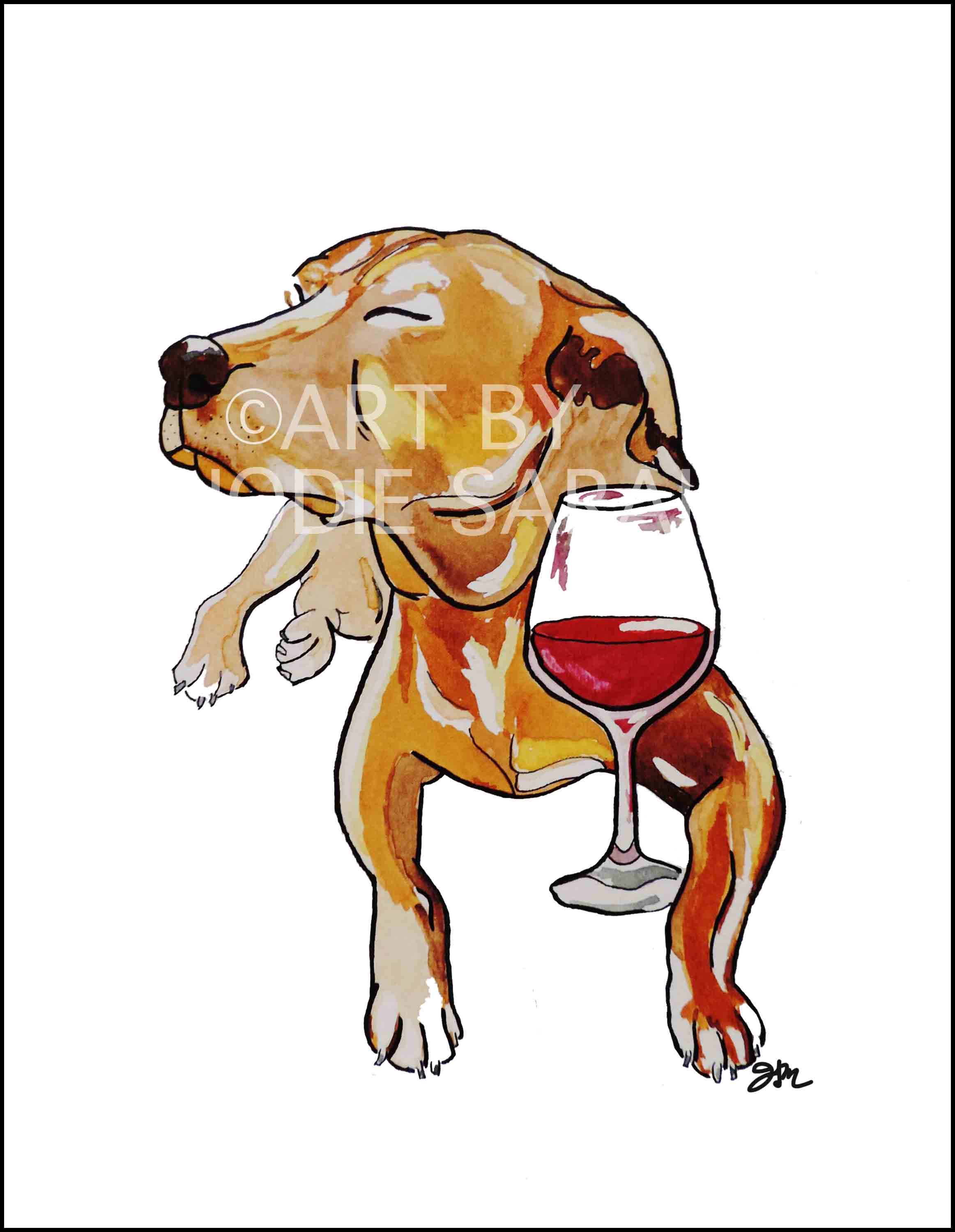 """Pinot Noir Pup"" Water Color and Ink"