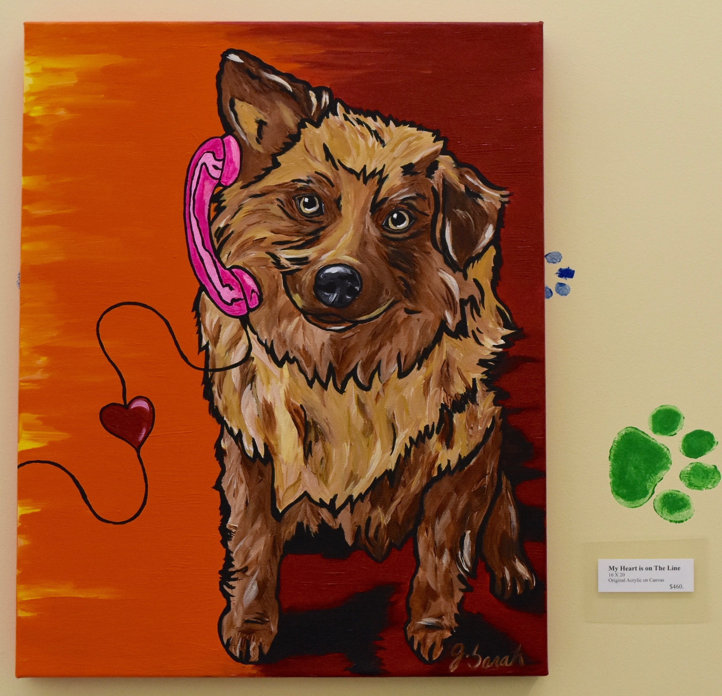 """My Heart Is On The Line"" 16"" X 20"" Acrylic on Canvas. $460.00"