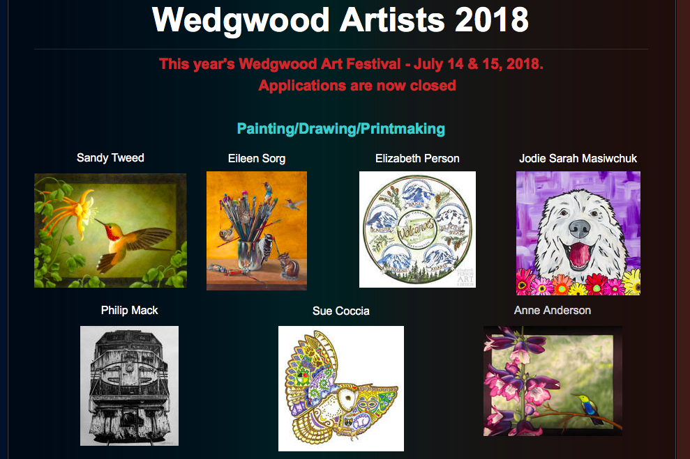 A few of the artists that will be at the Wedgewood Art Festival.