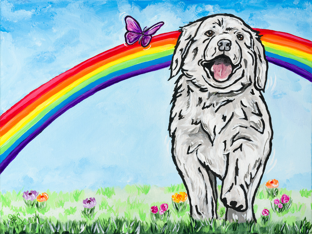 Puppy greets his owner led by a butterfly at the Rainbow Bridge.