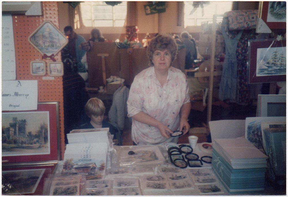 Sean hard at work with his mother Carole selling Jas F. Murray prints at a New England art show in 1987