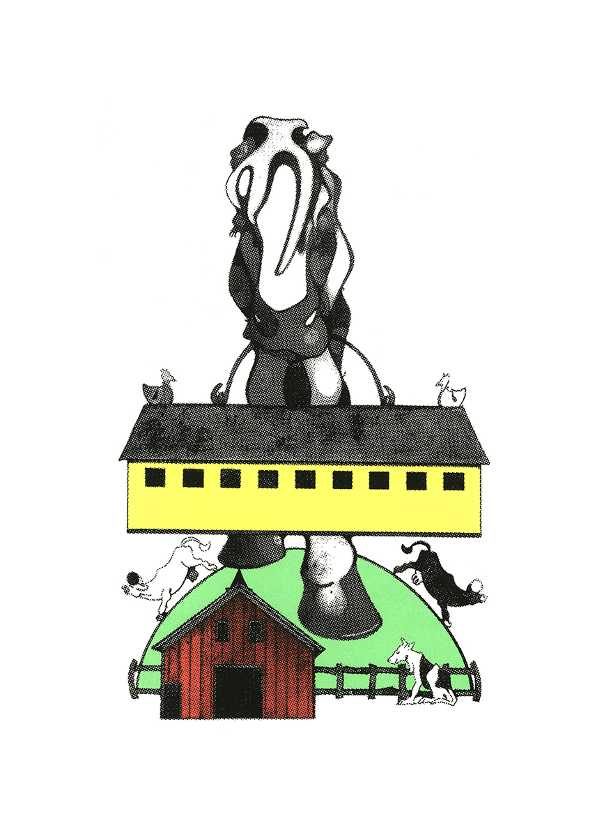 Farm Series - Horse Barn Hill , serigraphic print, copyrighted by Kathleen Zimmerman